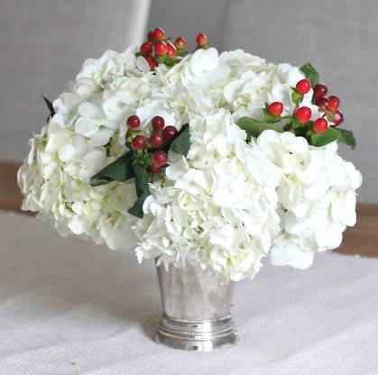 White hydrangea and berries
