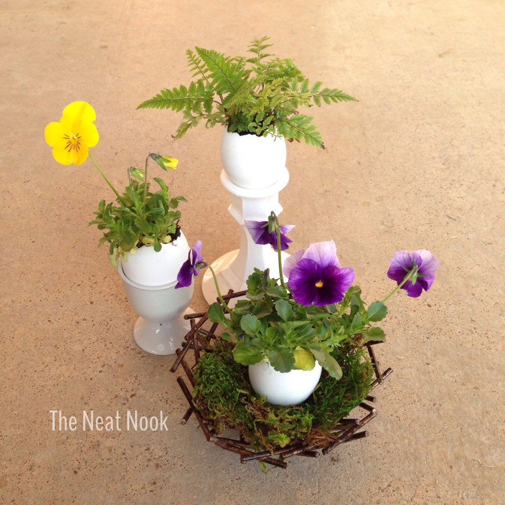 Easter arrangement with egg planters