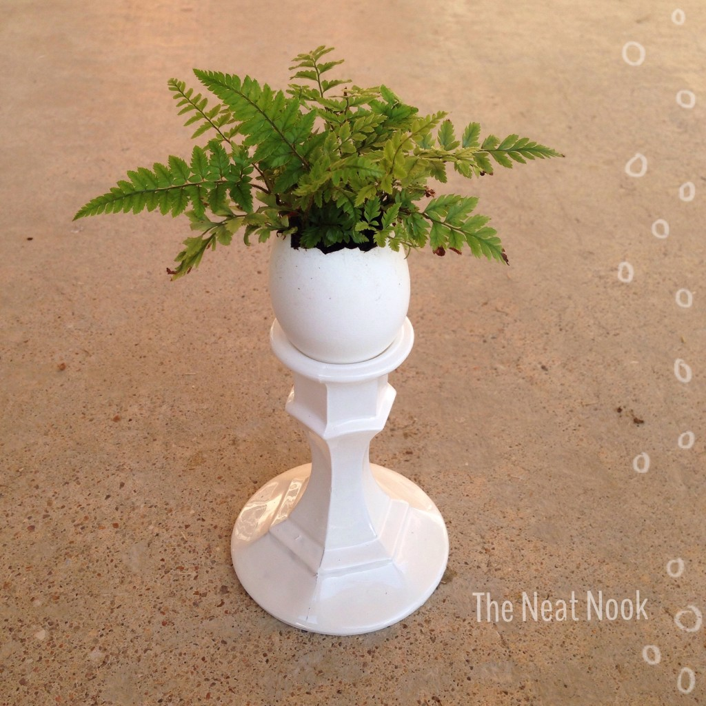 Egg planter on a candlestick