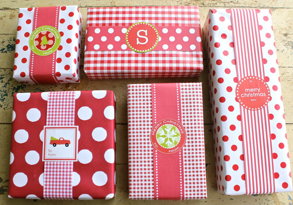 polka paper and labels