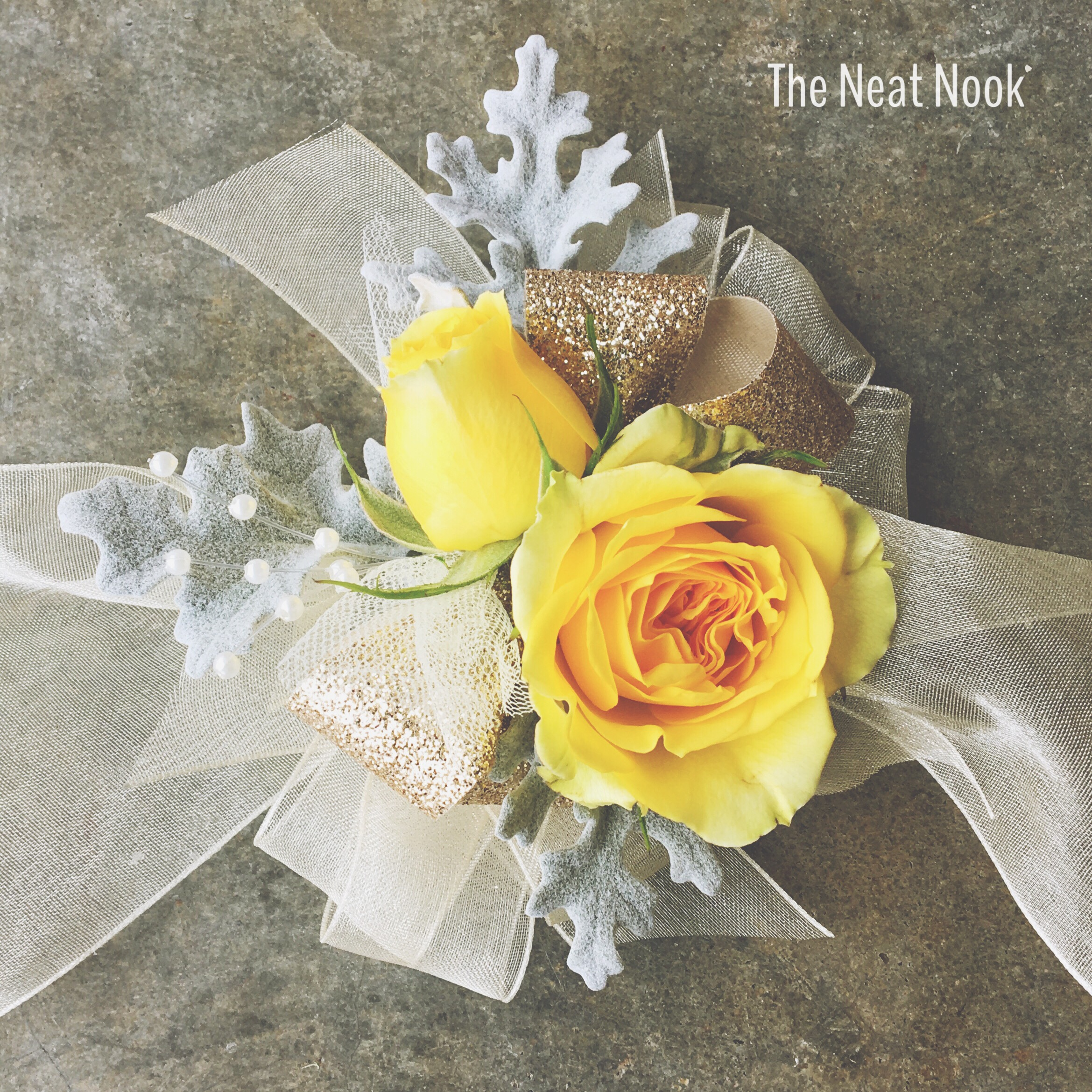 corsage-with-gold-ribbon